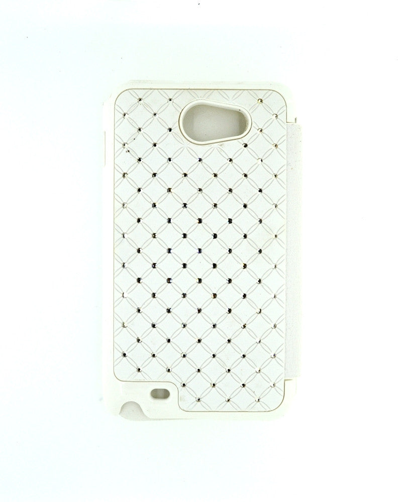 Diamond Studded Hard Shiny Flip Cover For Samsung Galaxy Note 1-WHITE