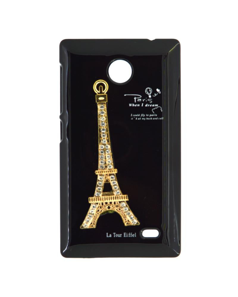Eiffel Tower Mobile Cover for Nokia X - BLACK