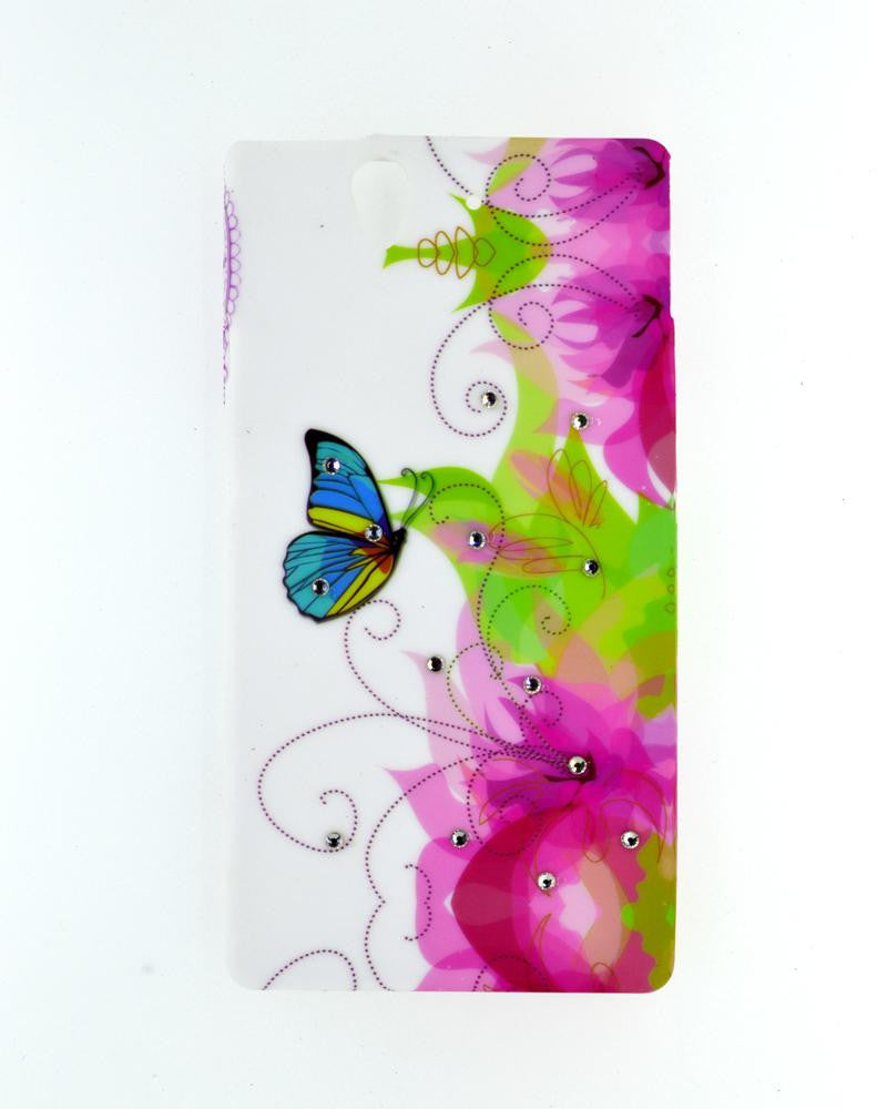 Flower Design Diamond Studded Soft Silicone Rubber Mobile Cover for Sony Xperia Z L36H
