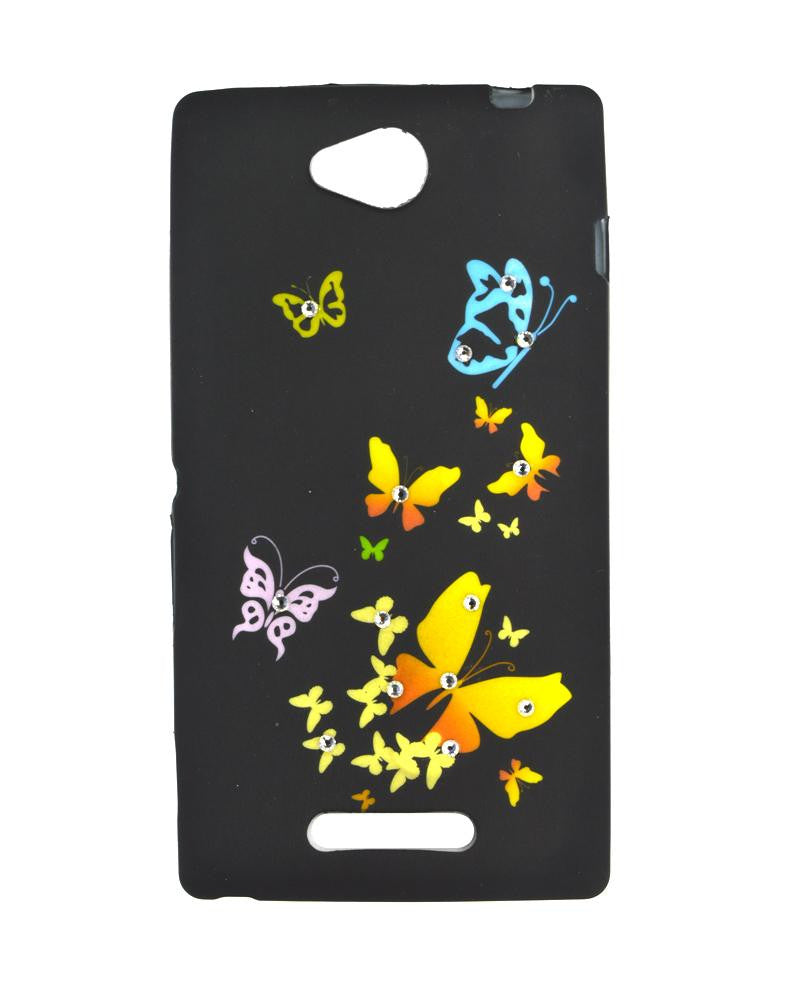 Butterfly Design Diamond Studded Soft Silicone Rubber Mobile Cover for Sony Xperia c