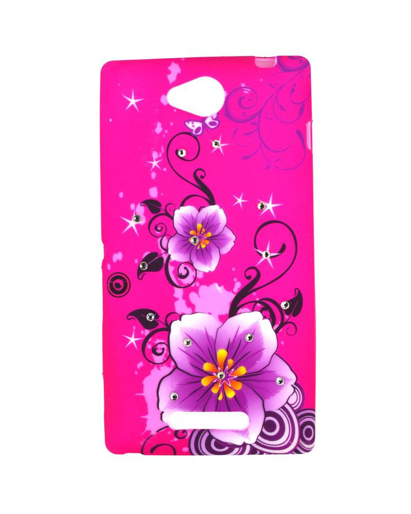 Flower Design Diamond Studded Soft Silicone Rubber Mobile Cover for Sony Xperia c