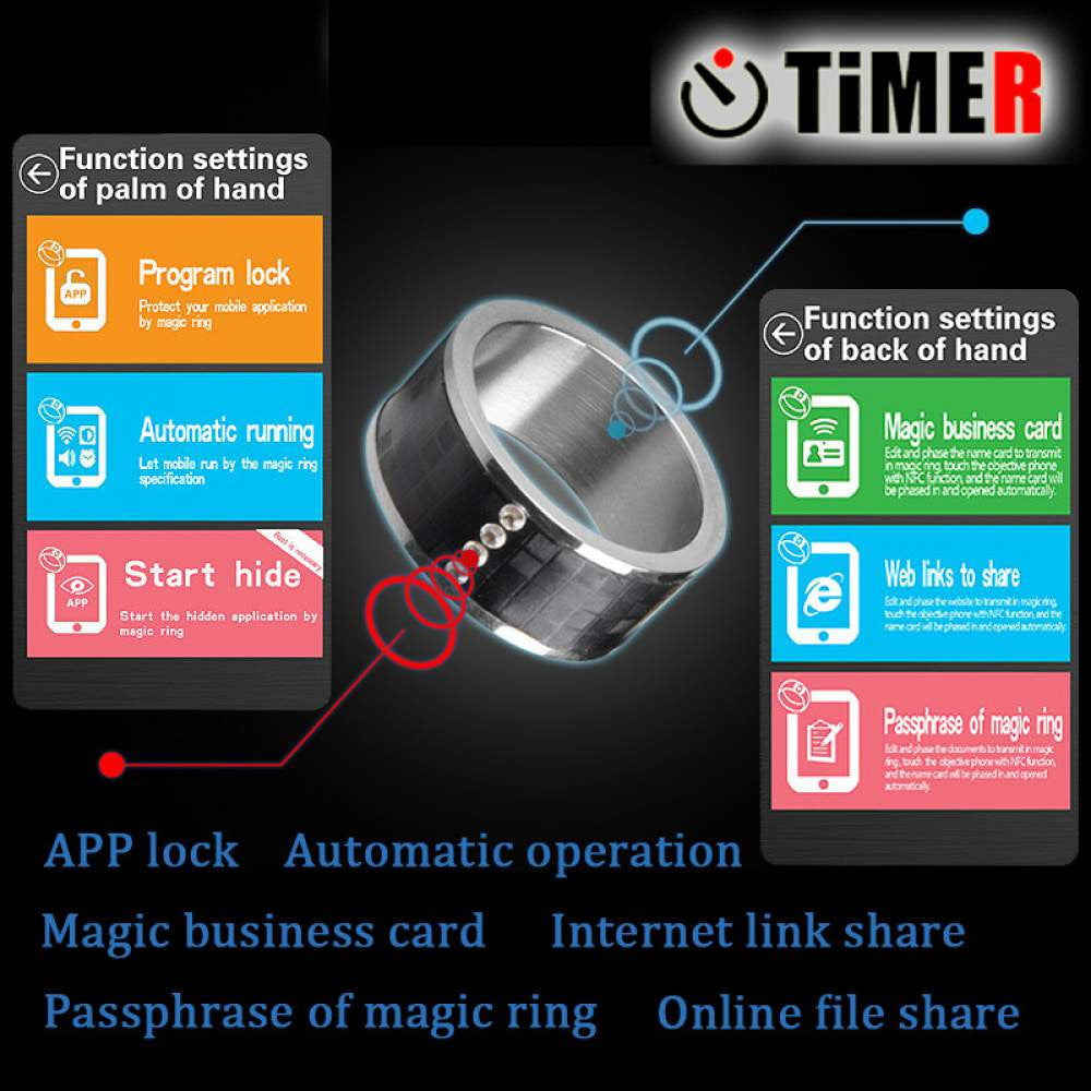 Multifunctional Smart NFC Ring for NFC Enabled Android & Windows  Smartphones - Two Color & Sizes