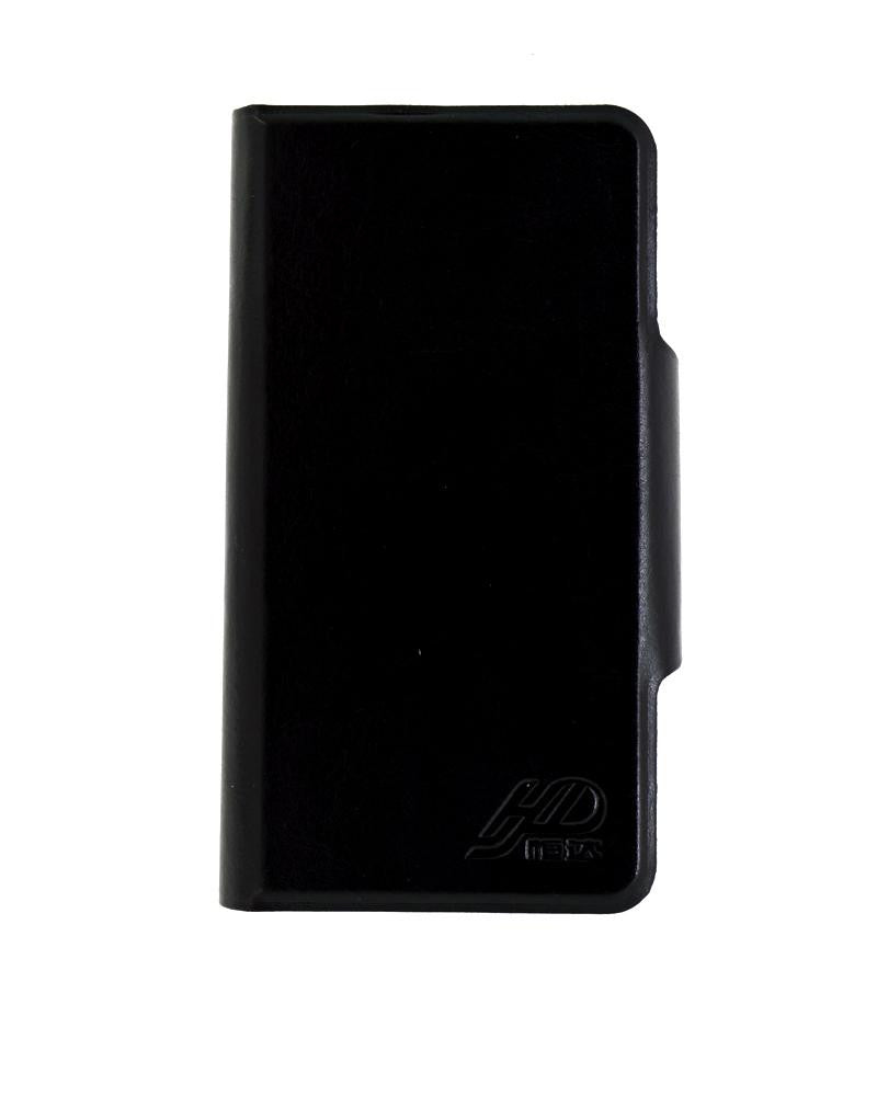 Latest Hot Luxury Leather Feel Mobile Flip Cover M Size - BLACK