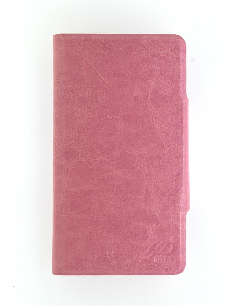 Latest Hot Luxury Leather Feel Mobile Flip Cover XL Size - LIGHT PINK