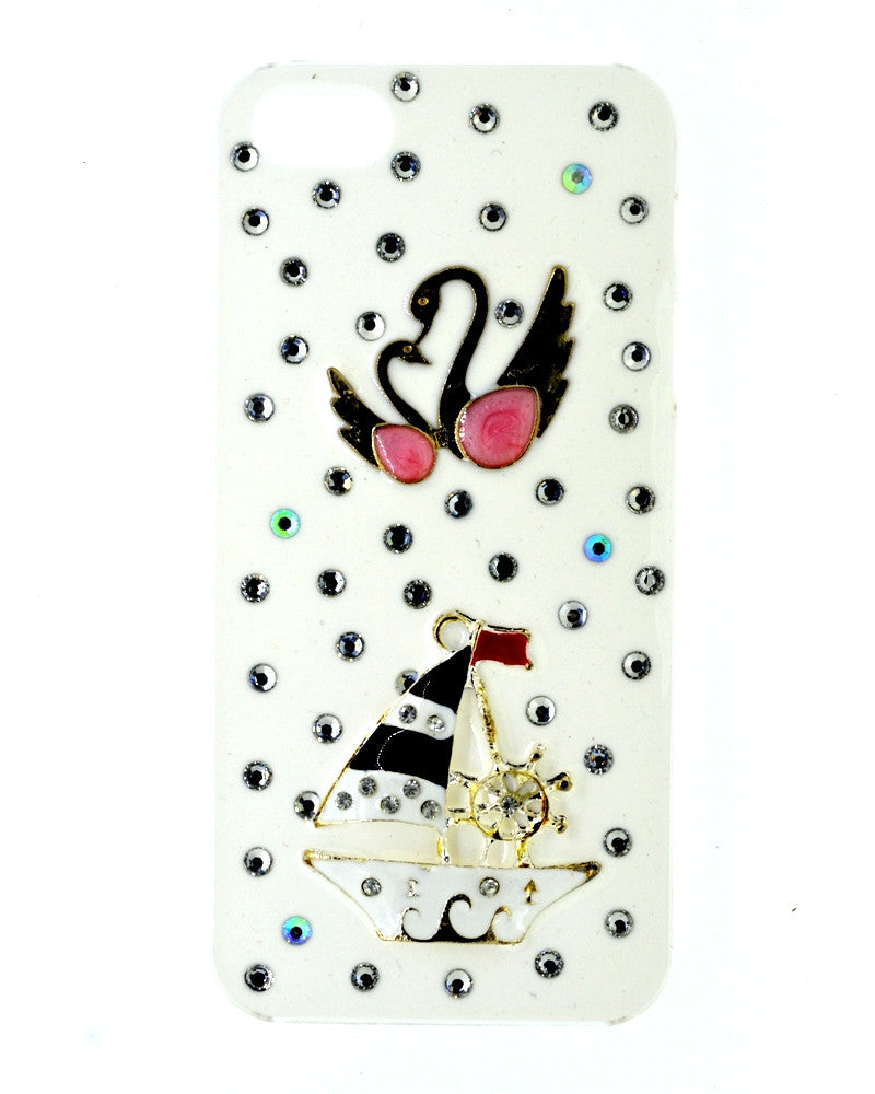 Jewel designed | Swan Ship Design Glossy Mobile Cover for iPhone 5/5s