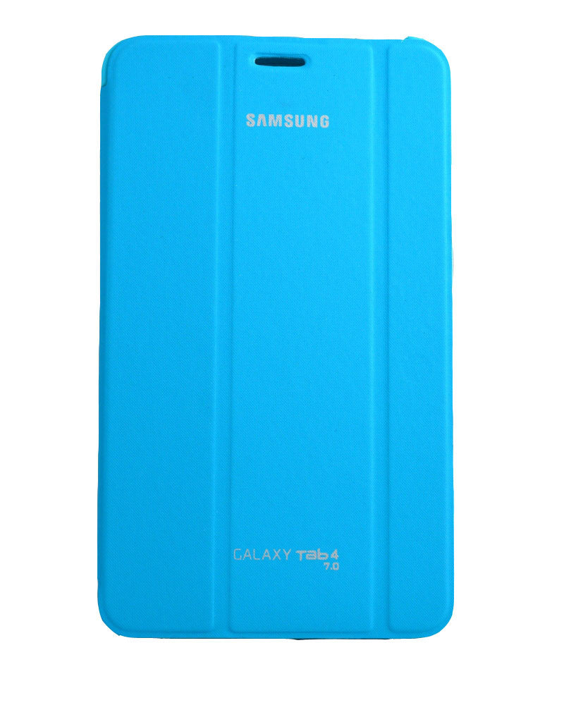 Tri-Fold Flip Book Stand Cover for Samsung Galaxy Tab 4-BLUE
