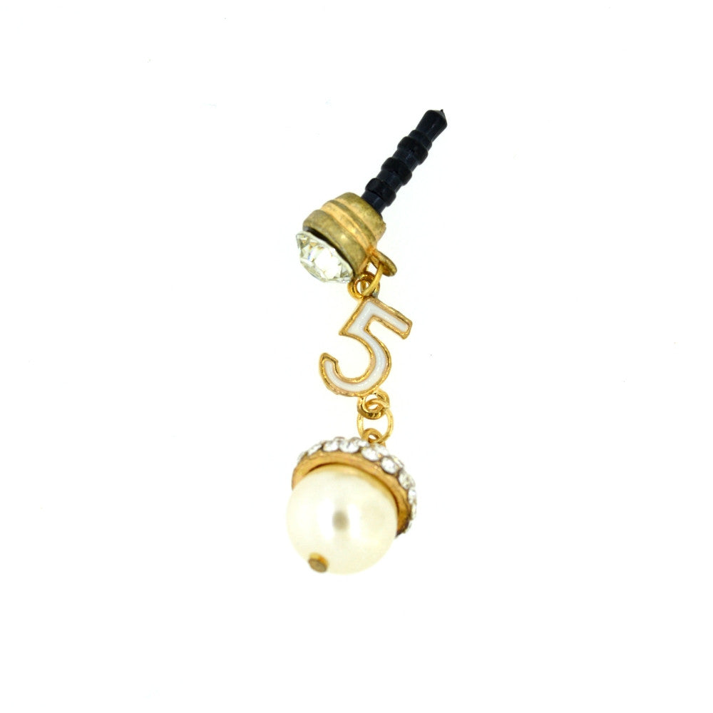 Pearl Earphone Jack Rhinestone Crystal Dust Plug.