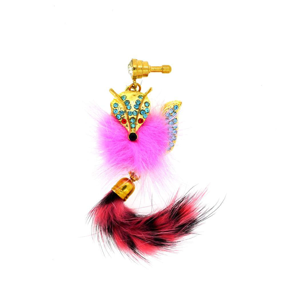 Pink Cat With Furry Tail Dust Plug for Smartphones