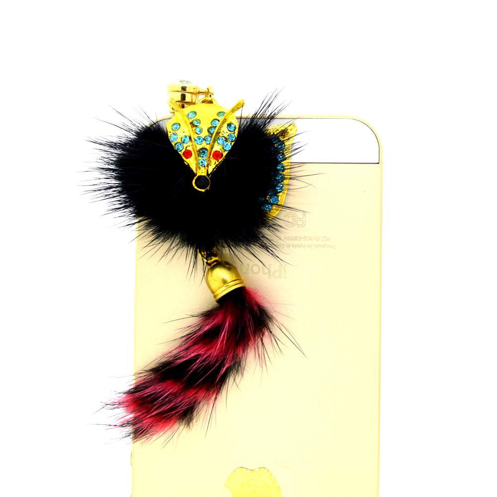 Black Cat With Furry Tail Dust Plug for Smartphones