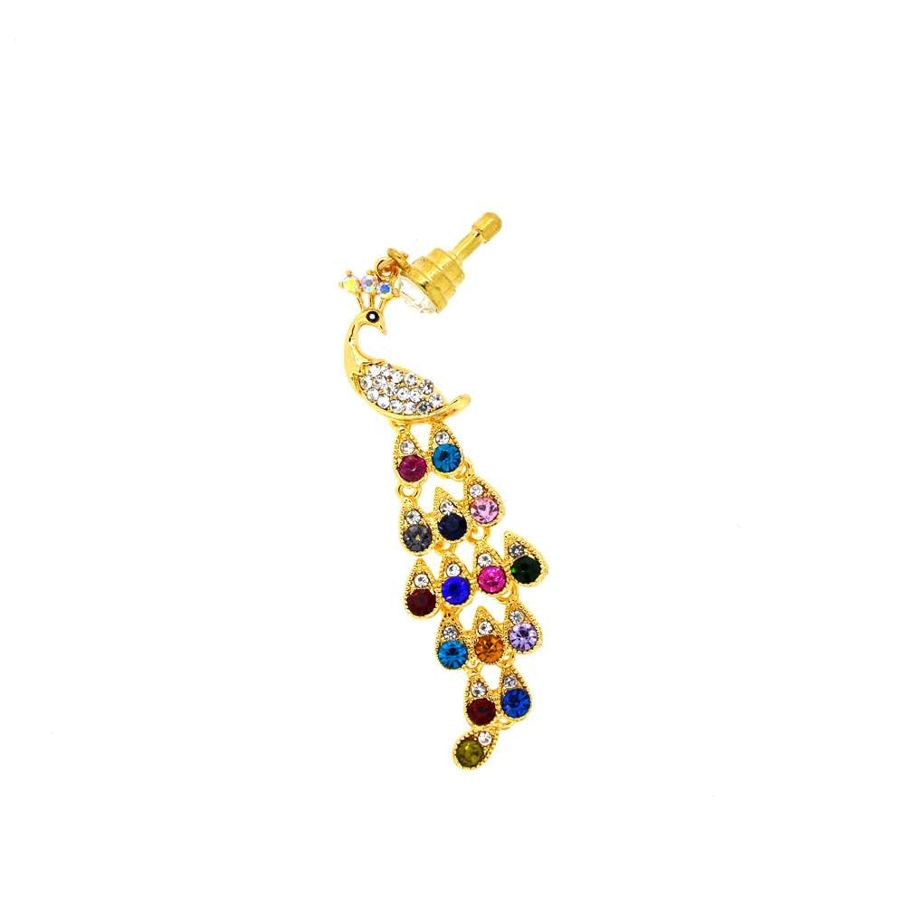 Diamond Studded Peacock Shape Dust Plug for Smartphones