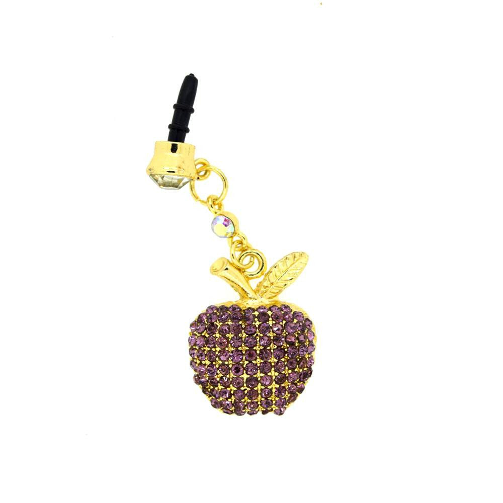 Apple Shape With Pink Diamond Studded Dust Plug for Smartphones