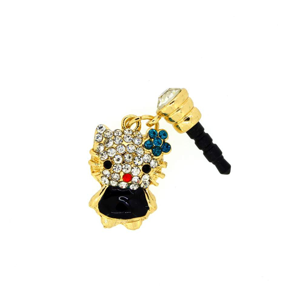 Kitty Shape With Diamond Studded Dust Plug for Smartphones
