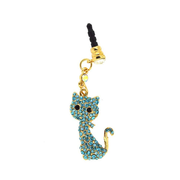 Blue Diamond Crystal Studded Kitty Dust Plug