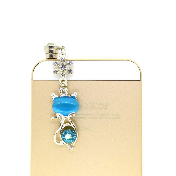 Cute Blue Baby Cat With Blue Diamond Studded Mobile Dust Plug