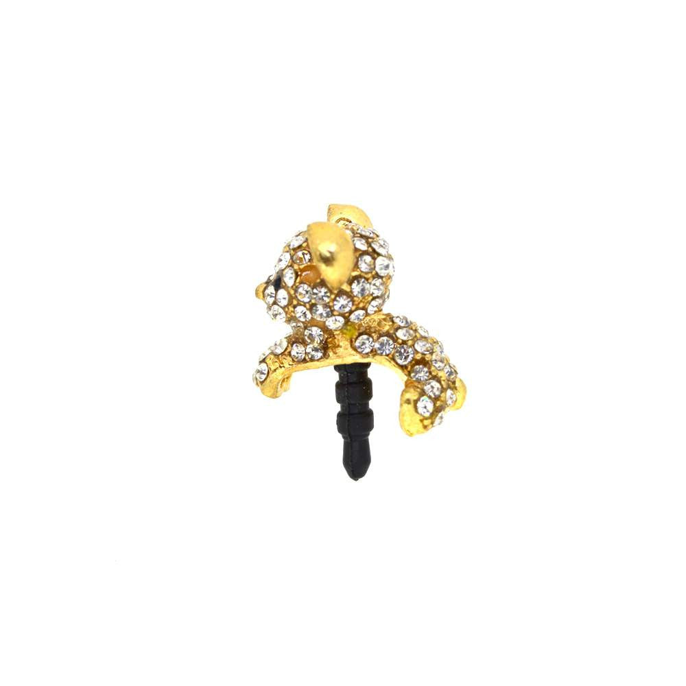 Golden Jerry Shaped Diamond Studded Mobile Dust Plug
