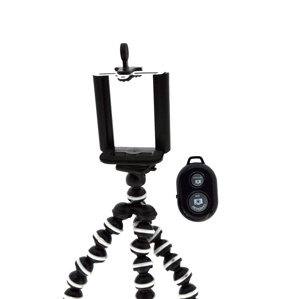 "Flexible Gorillapod Mini Tripod (""6"" inch height) with Bluetooth Shutter and Attachment"
