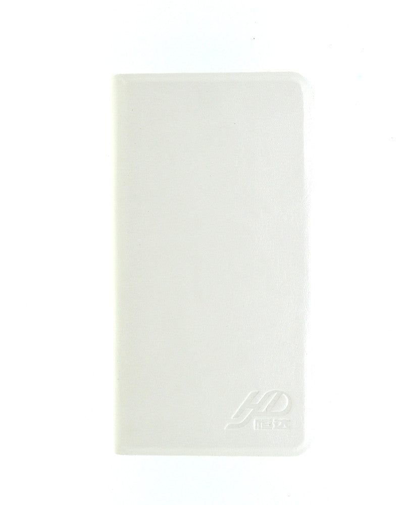 Latest Hot Luxury Leather Feel Mobile Flip Cover M Size - WHITE