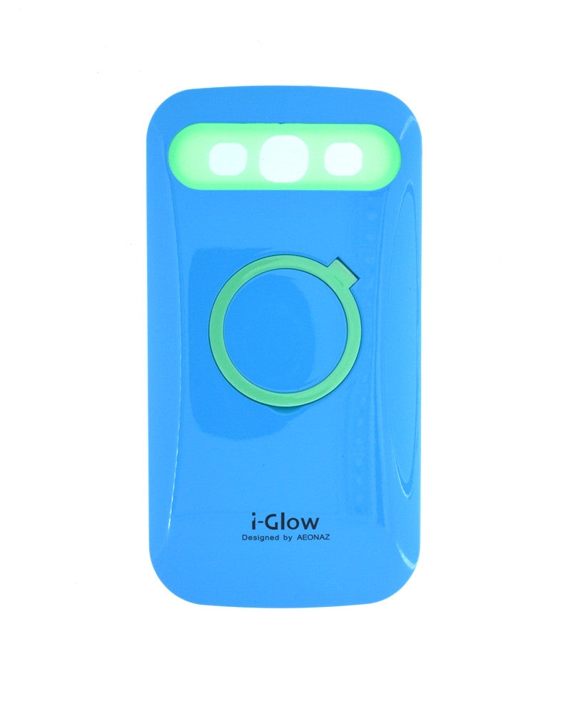 i-Glow Night Glow Mobile Cover For Samsung Galaxy S3 i9300-BLUE