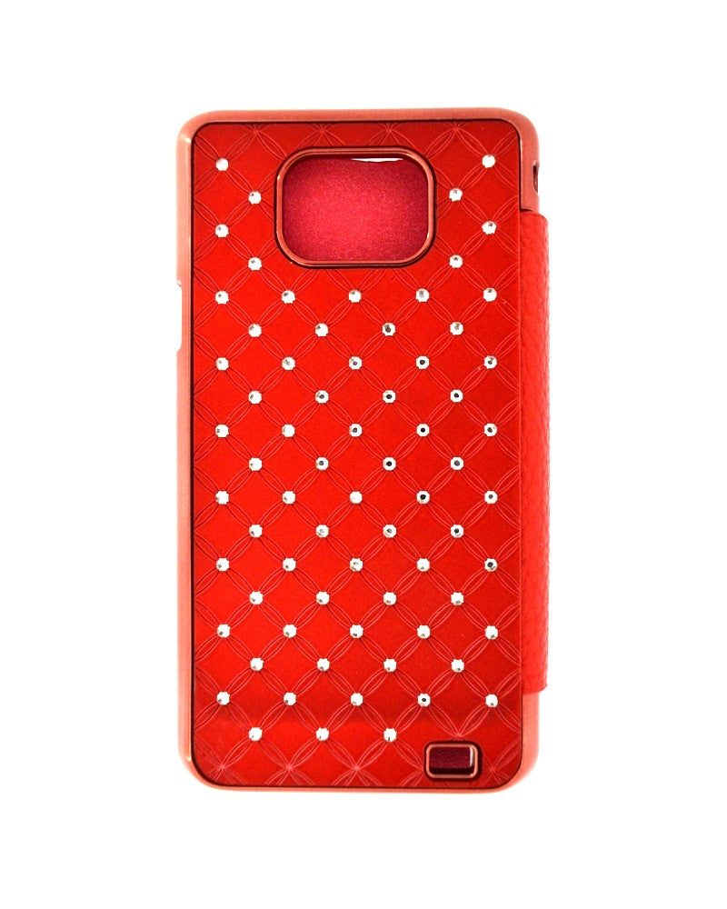 Diamond Studded Hard Shiny Flip Cover For Samsung S2 i9100-RED