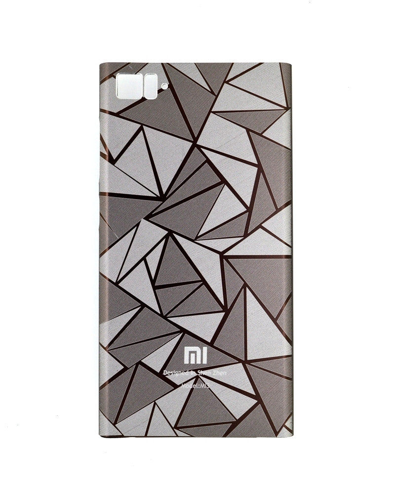 Xiaomi MI3 Highy quality Cool 3D Rhombus Diamond Metal Back Cover - BROWN