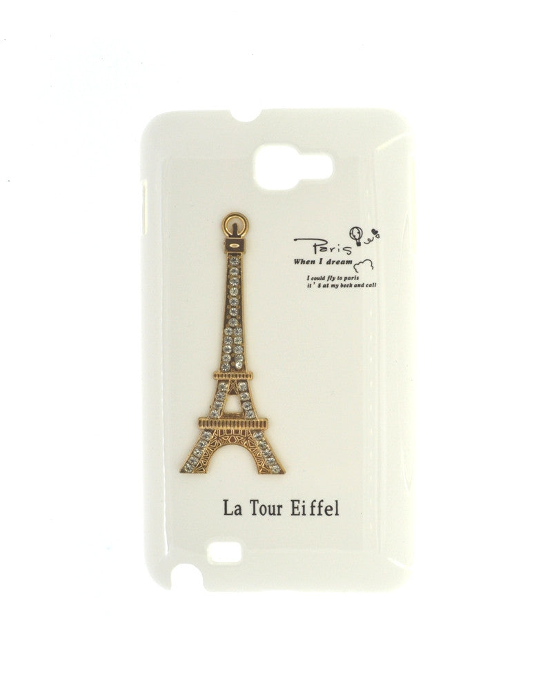 Eiffel Tower Mobile Back Cover for Samsung Galaxy Note 1-WHITE