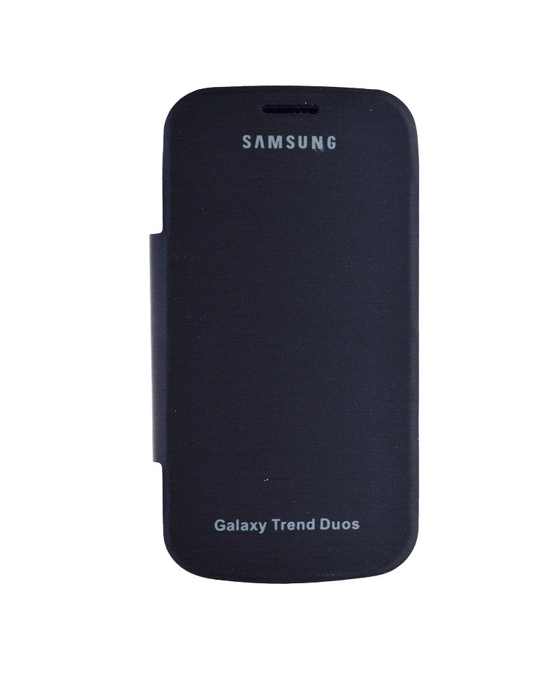 Flip Cover for Samsung Galaxy S Duos 7562 with Leather Look-BLACK