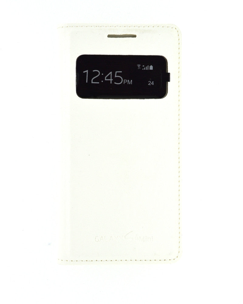 S View Cover for Samsung Galaxy S4 Mini i9190 with Leather Look-WHITE