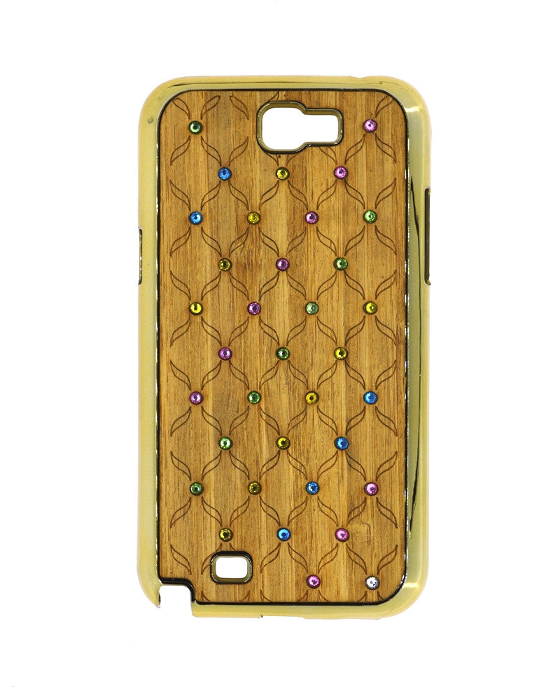 Wooden Finish Diamond Studded Mobile Covers for Samsung Galaxy Note 2