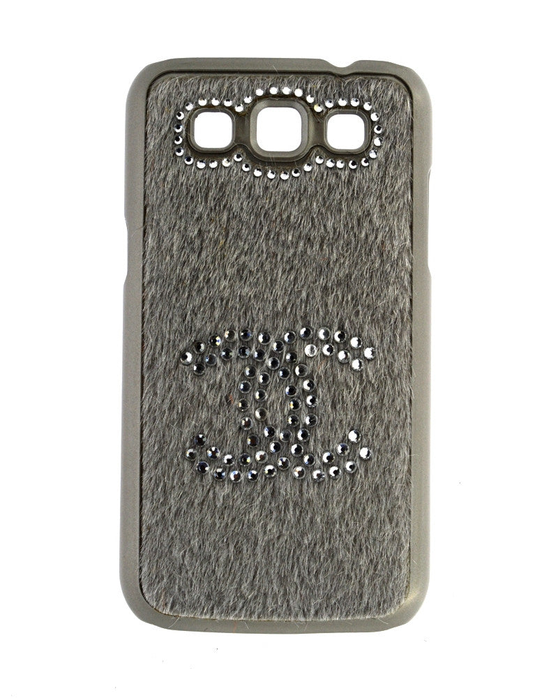 Handmade Diamond Studded Furry Mobile Cover for Galaxy Win i8552-SILVER