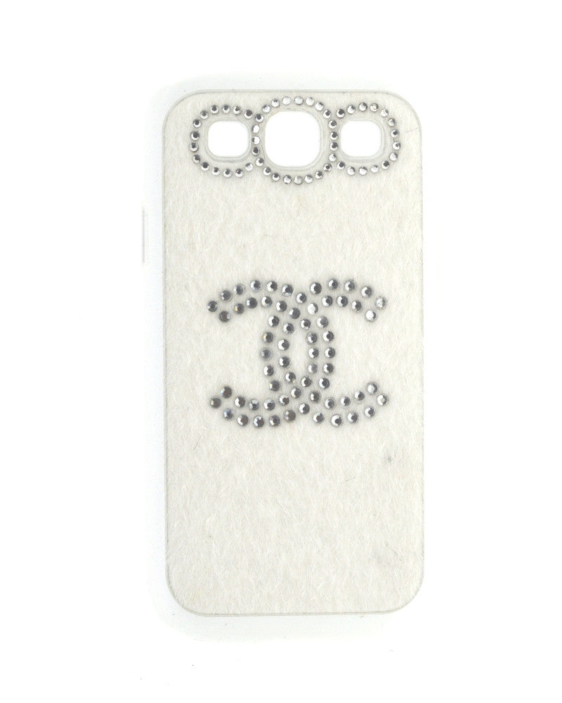Handmade Diamond Studded Furry Mobile Cover for Galaxy Win i8552-WHITE