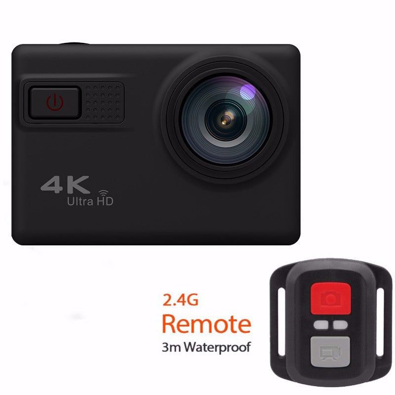 F68 4K Ultra HD 170 Degree Wide Angle 12MP WiFi Sports Action Camera - Black (With Remote Control)