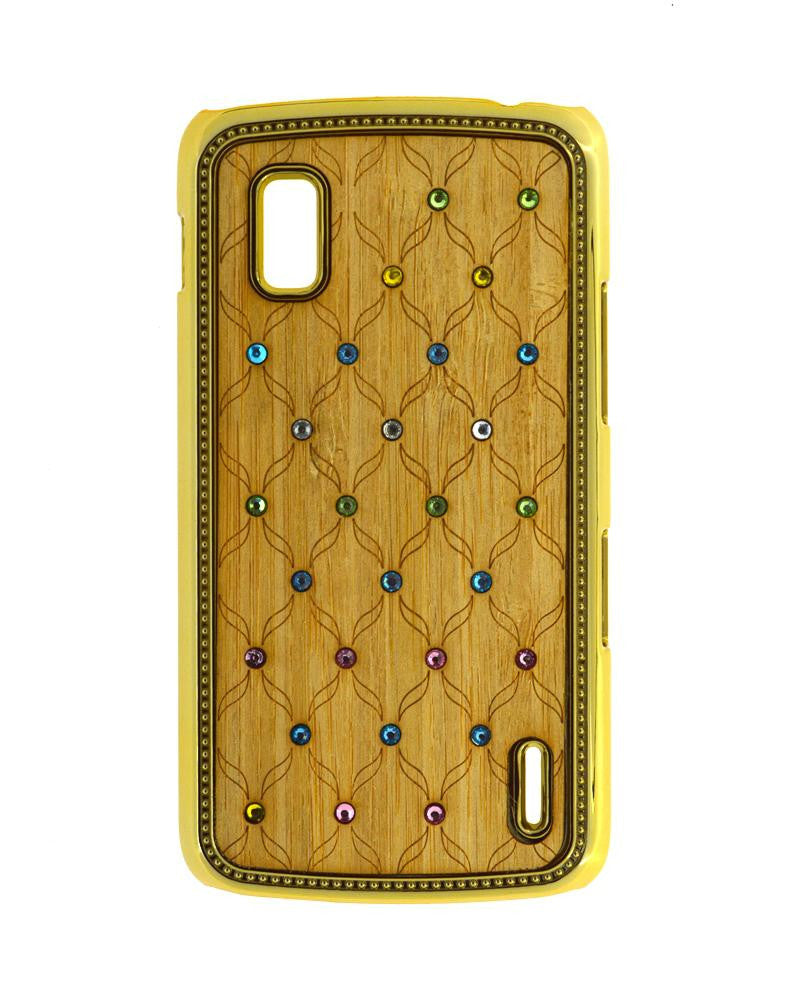 Wooden Finish Diamond Studded Mobile Covers for Nexus 4