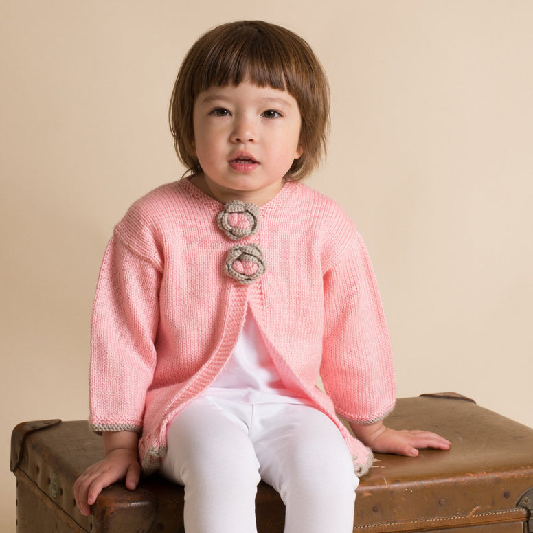 Hand Knitted Girl Cardigan Pink