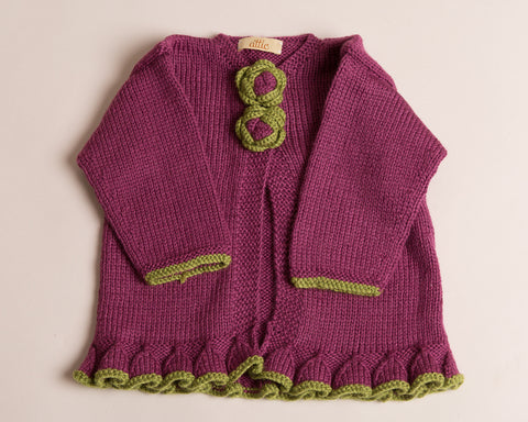 Hand Knitted Girl Cardigan Heather
