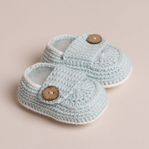Hand Crochet Bamboo Baby Shoes(Pale Blue)