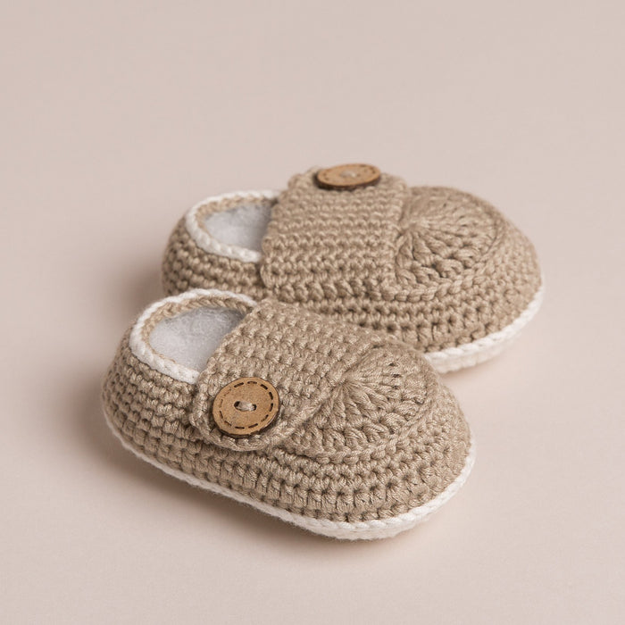 Hand Crochet Bamboo Baby Shoes Beige
