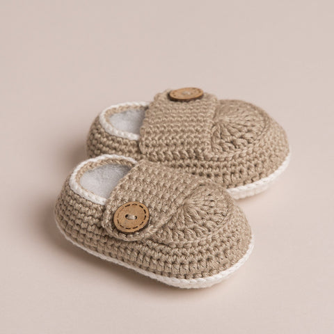 Hand Crochet Bamboo Baby Shoes(Beige)
