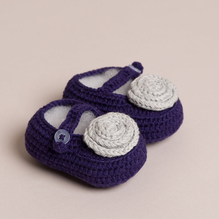 Hand Crochet Flower Purple Baby Shoes