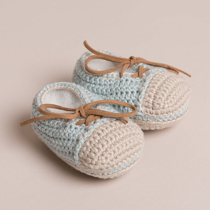Hand Crochet Leather Laced Baby Shoes Blue