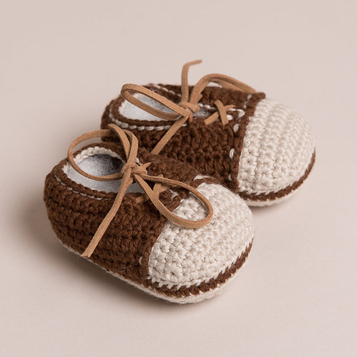 Hand Crochet Leather Laced Baby Shoes Brown