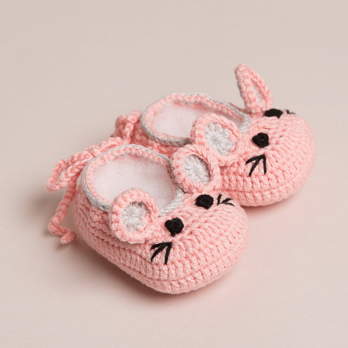 Hand Crochet Baby Mouse Shoes Pink