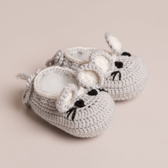 Hand Crochet Baby Mouse Shoes Grey