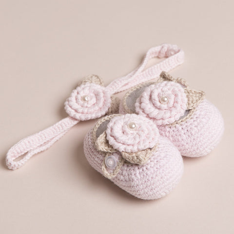 Bamboo Baby Shoes and headband With Pearl Details