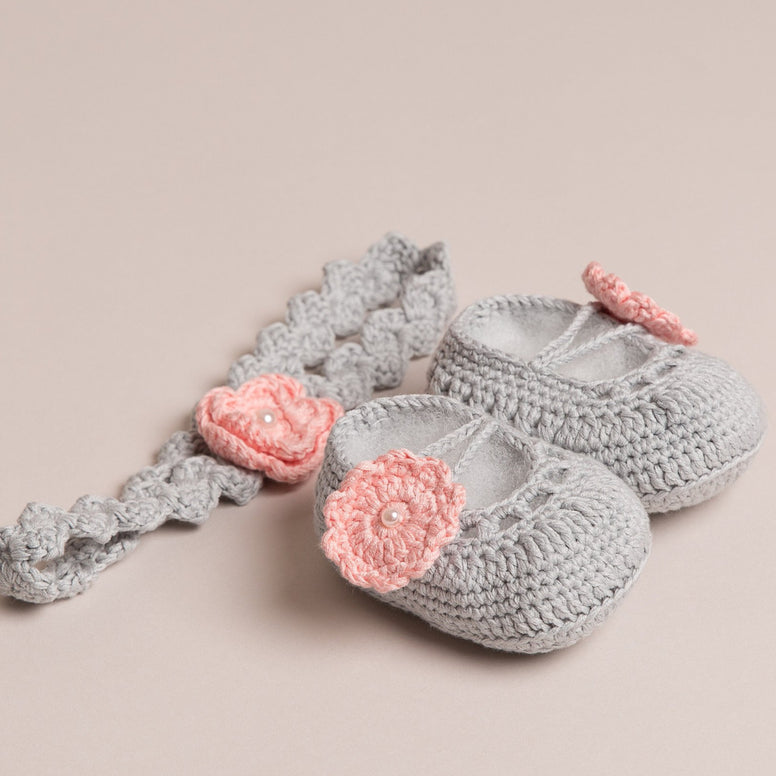 Baby's Pink Flower Shoes and Headband Set