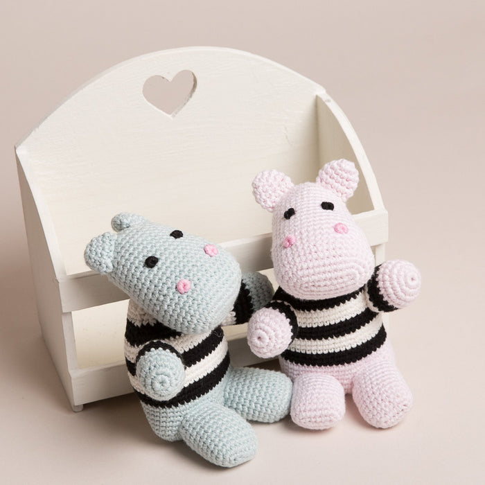 Hand Crochet Hippopotamus with stripy tops