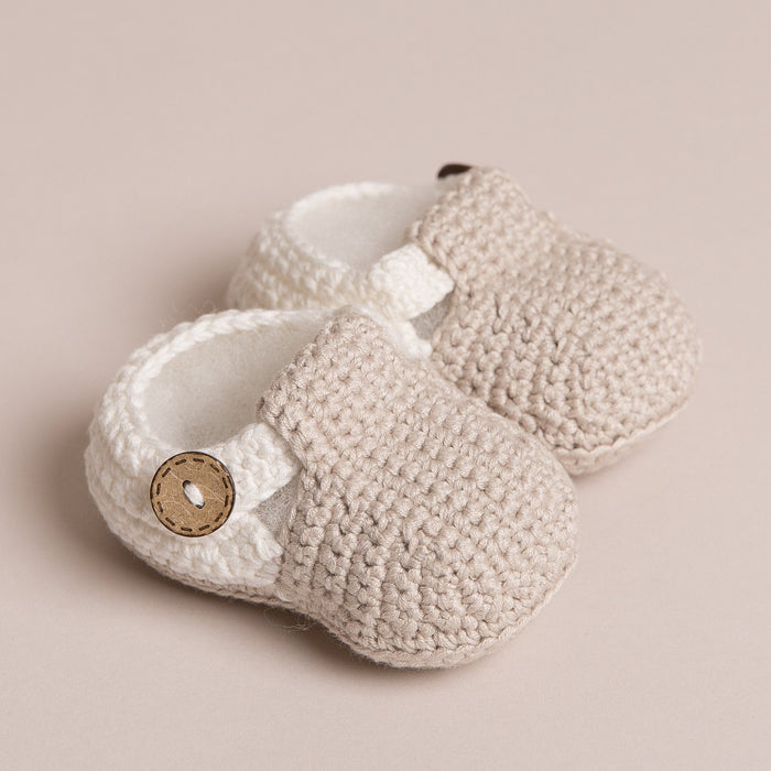 Hand Crochet T Bar Baby Shoes Beige