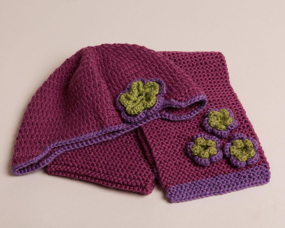 Heather Hat ,Mittens & Scarf