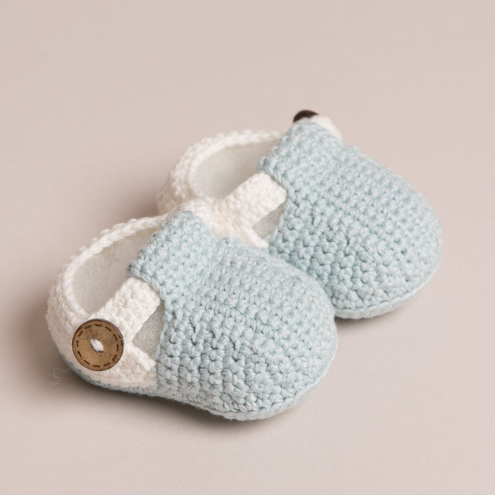 Hand Crochet T Bar Baby Shoes Blue