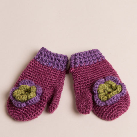 Hand Knitted Girls  Mitten Gloves