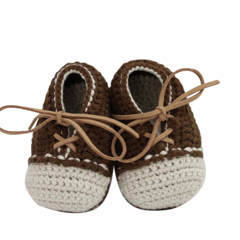 Load image into Gallery viewer, Hand Crochet Leather Laced Baby Shoes(Brown)